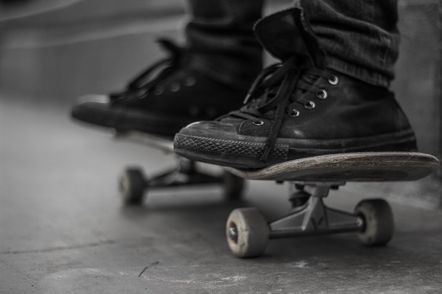 sneakers on skateboard