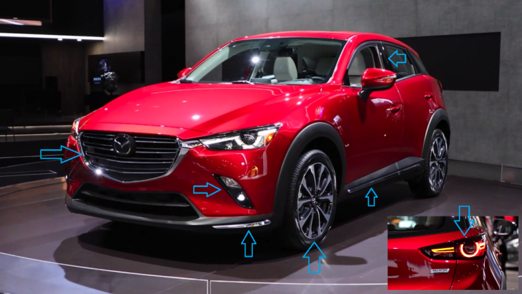 pointing out design tweaks on 2019 CX-3