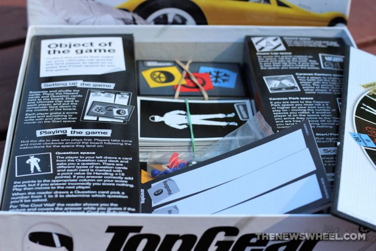 BBC Top Gear official board game review trivia collector item car knowledge quiz automotive cards components
