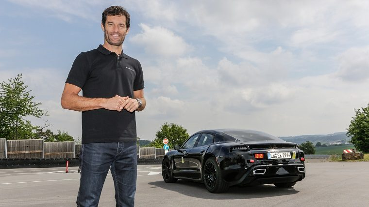 Mark Webber with Porsche Mission E