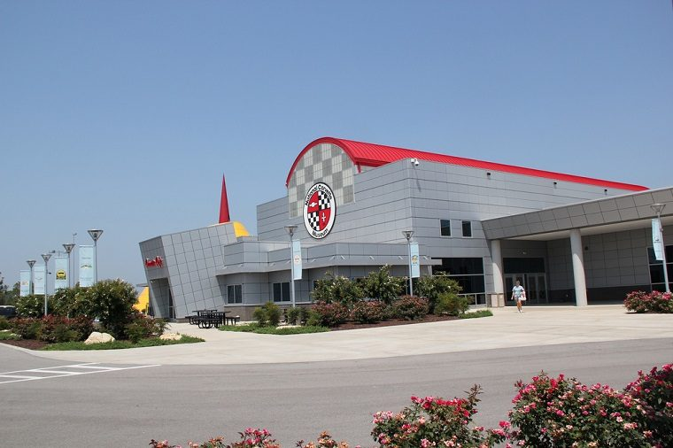 The front of the National Corvette Museum in Bowling Green, Kentucky