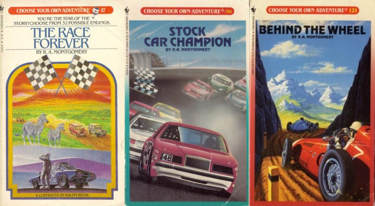 Choose your own adventure book review car racing wheel automotive books R.A. Montgomery