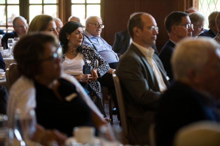 Retirees attend a Q&A with Jim Farley at Dearborn Country Club