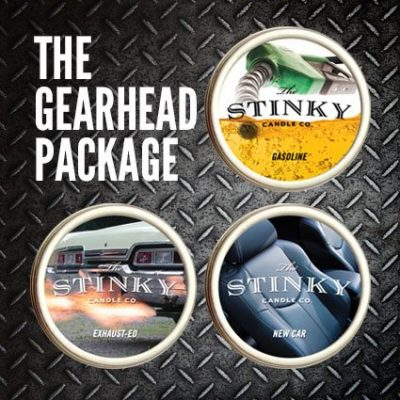 Stink Candle Company Gearhead Package motor engine oil gasoline exhaust fumes smell gift