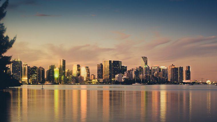 Miami skyline at sunset