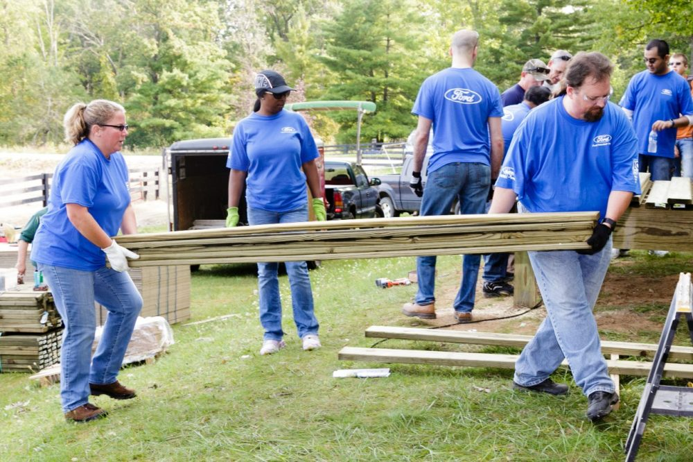 Ford Volunteer Corps members take part in a project during Ford Global Caring Month 2018
