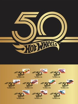 Hot Wheels 50th anniversary stamp set poster USPS Postal Service