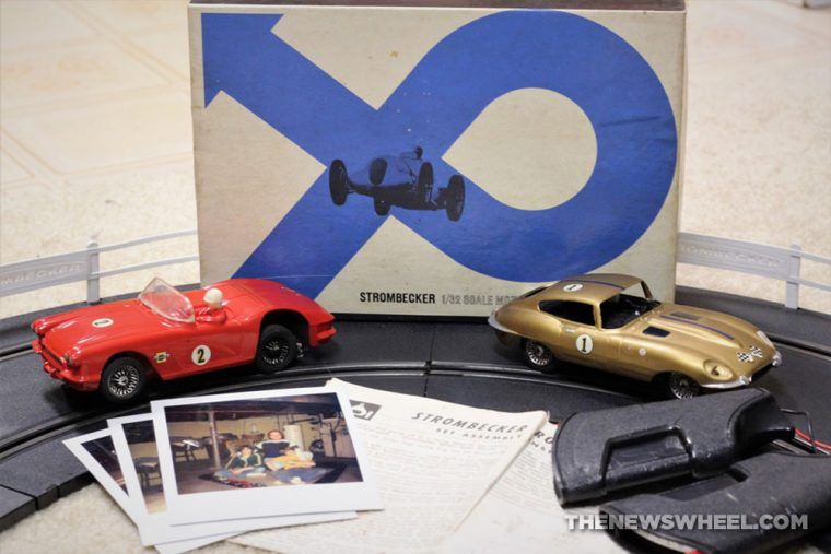 Slot car racing history hobby Strombecker collect racetrack basement