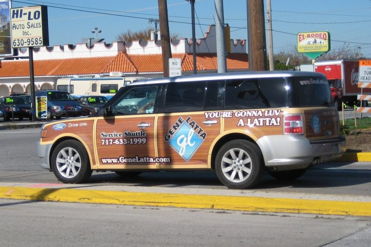 ford flex with wood stickers advertisement