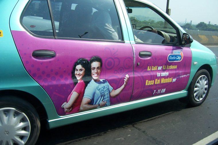 radio advertisement on car