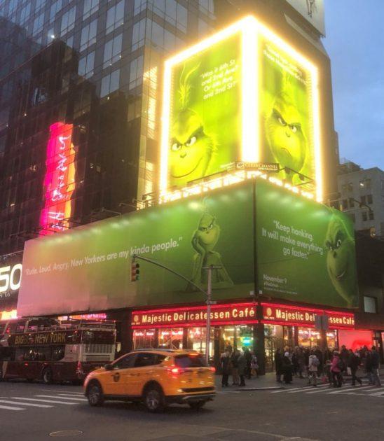 Grinch billboard NYC