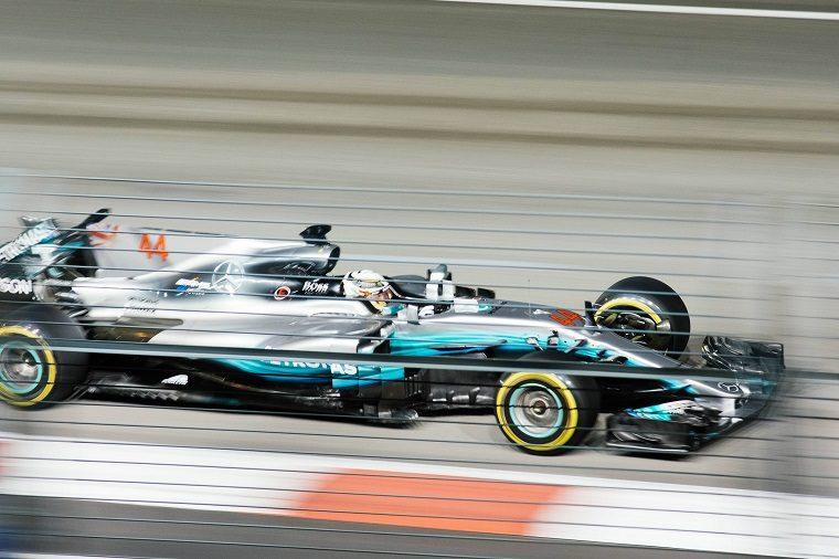 Lewis Hamilton in 2018 Mercedes F1 Car