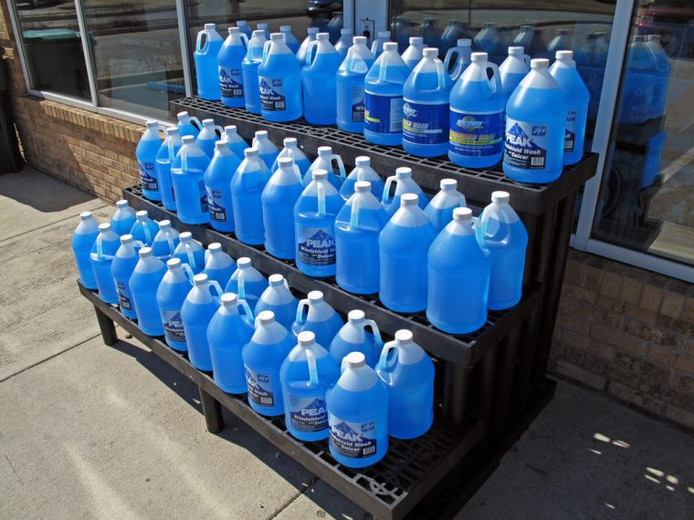 Blue windshield washer fluid