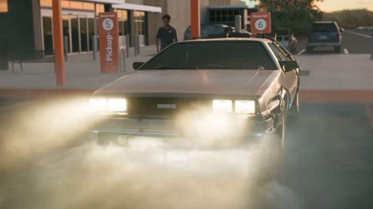Famous movie cars in Walmart commercial vehicles DeLorean Back to the Future
