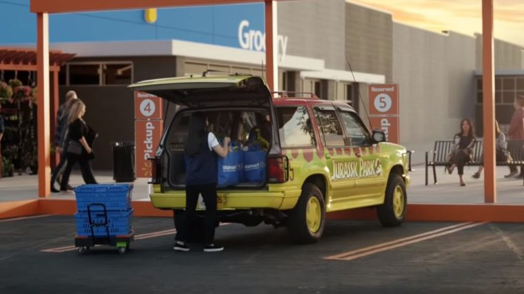 Famous movie cars in Walmart commercial vehicles Jurassic Park