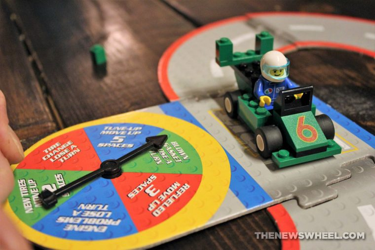 LEGO Racers Super Speedway Game review family car board game pit stop
