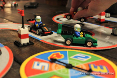 LEGO Racers Super Speedway Game review family car board game spinner