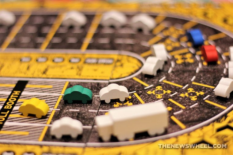 Road Hog board game review highway car traffic automotive play Jolly Roger Games 2016 Ultra Pro meeples