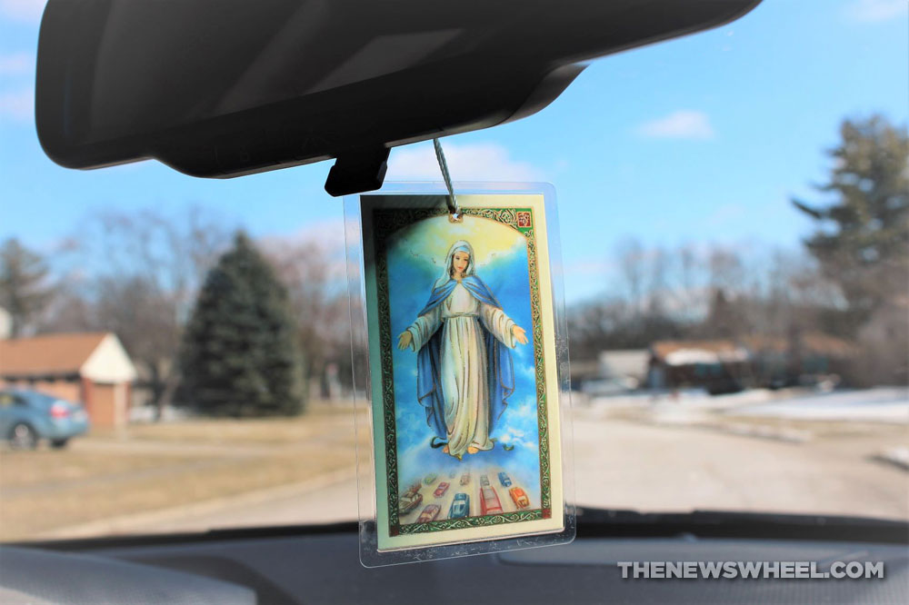 Our Lady of the Highway protection patron saint of cars hanging from rearview mirror