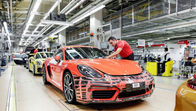 Porsche employees on the production line