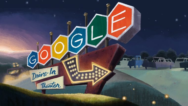 Google Doodles involving cars drivers vehicles automobiles drive-in movie theater