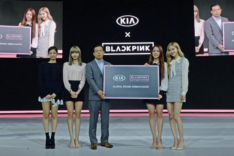 Kia Motors CEO President Han Woo Park with BLACKPINK Global Brand Ambassadors