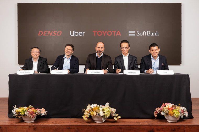 Toyota, DENSO, SoftBank & Uber signing ceremony