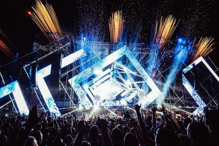EDM Music Festival Stage and Audience