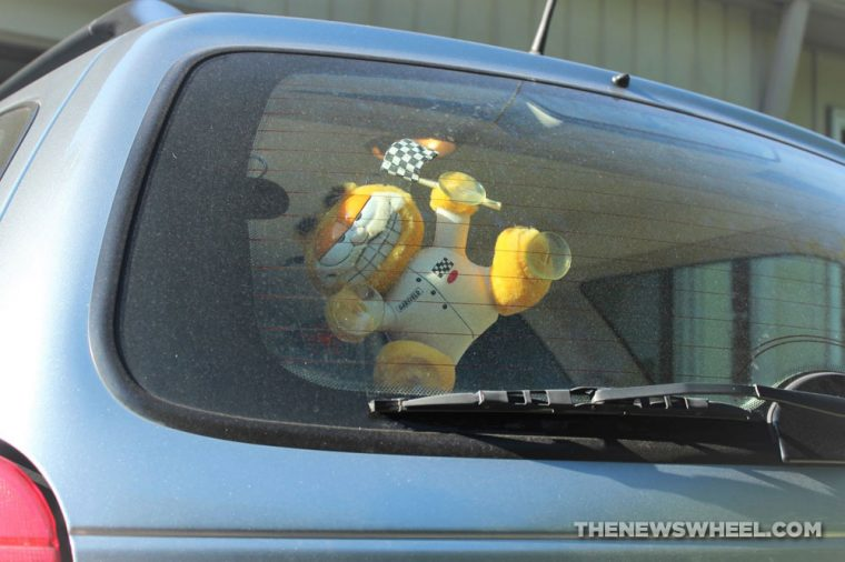 Garfield Window Cling plush cat 1980s car accessory fad