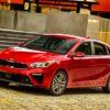 2019 Kia Forte red four-door sedan