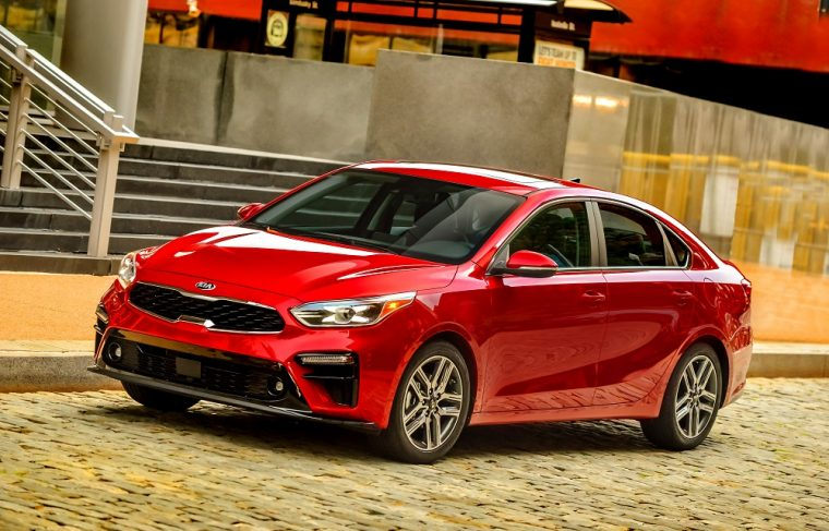 2019 Kia Forte red four-door sedan