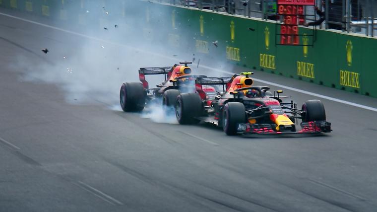 Ricciardo Crashes Into Verstappen