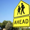 School crossing pedestrian crossing yellow street sign traffic safety