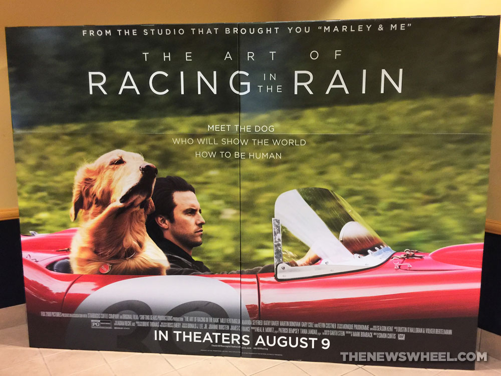 The Art of Racing in the Rain Trailer poster theater Golden Retriever Dog movie Ferrari 250 Testa Rosa