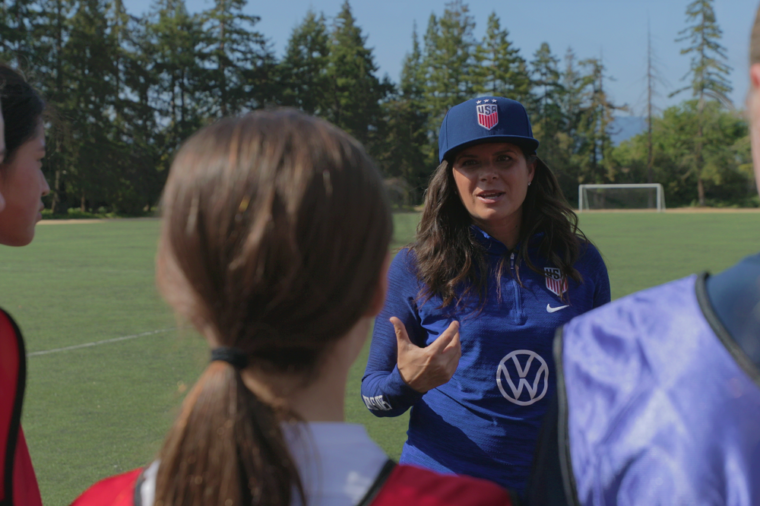 U.S. Soccer Star Mia Hamm Surprises Palo Alto Soccer Club Team Practice