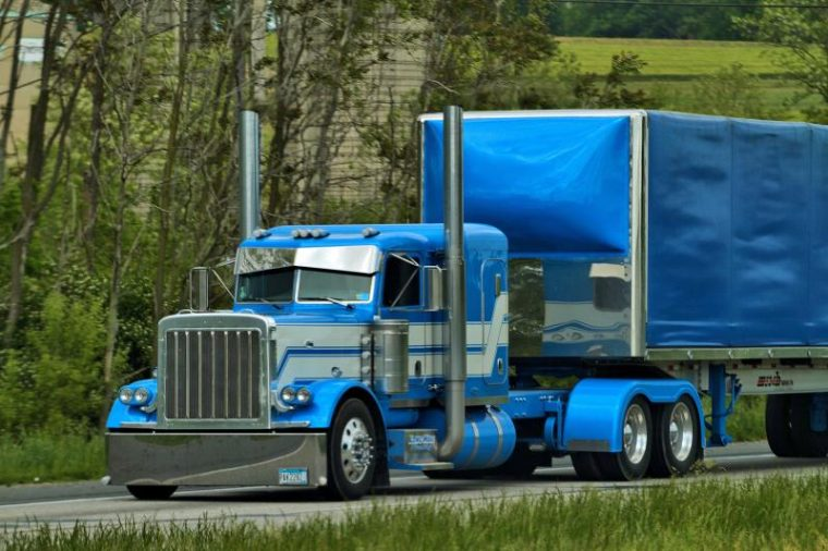 big rig semi truck blue trucker highway