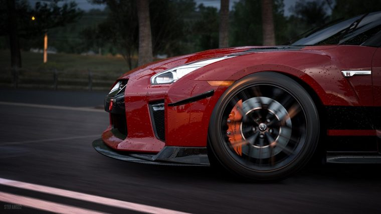 A dark red Nissan GT-R in the game Forza Horizon 3