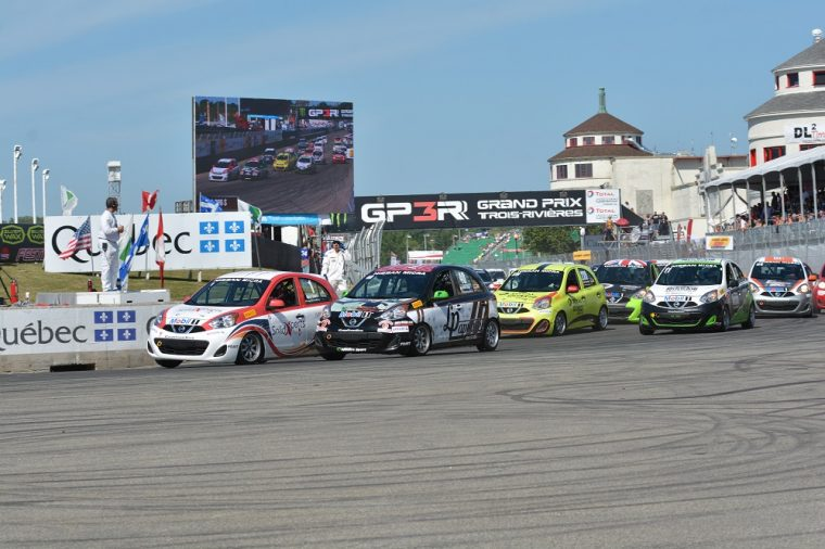 A fleet of Nissan Micras on the track at the Grand Prix de Trois-Rivieres