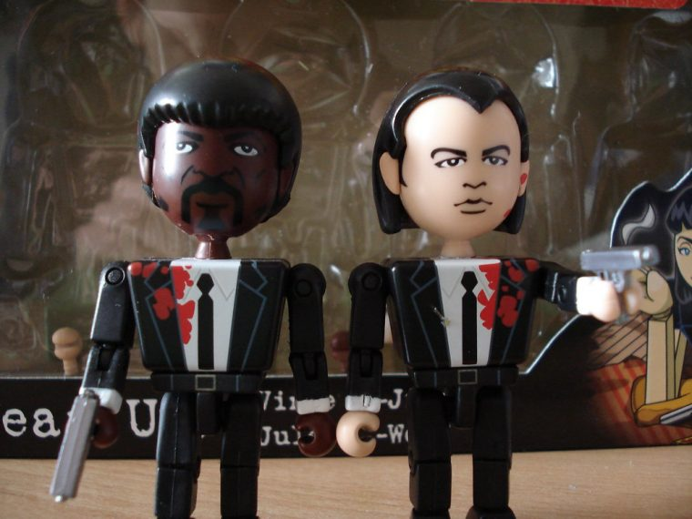 Plastic figures of Pulp Fiction characters Jules Winnfield (left) and Vincent Vega (right).