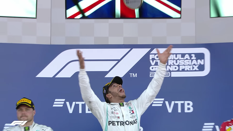 2019 Russian GP Hamilton Throws Trophy