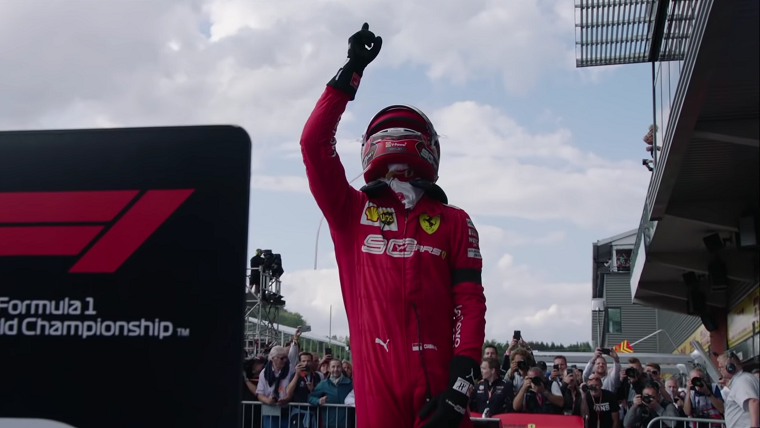 Leclerc Points to Sky After 2019 Belgian GP Win
