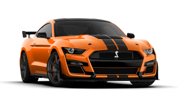 2020 Mustang Shelby GT500 Twister Orange with Absolute Back Painted Racing Stripes | 2020 Mustang Shelby GT500 configurator