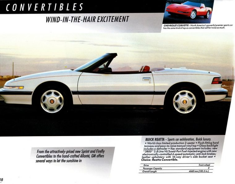 1991 Buick Reatta Convertible Ad