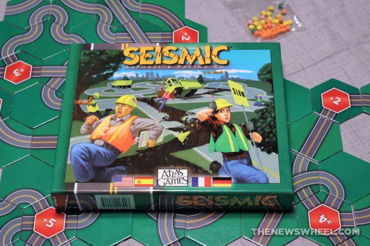 Seismic Asphalt & Paving Co. game review earthquake road destruction tile Atlas Games buy