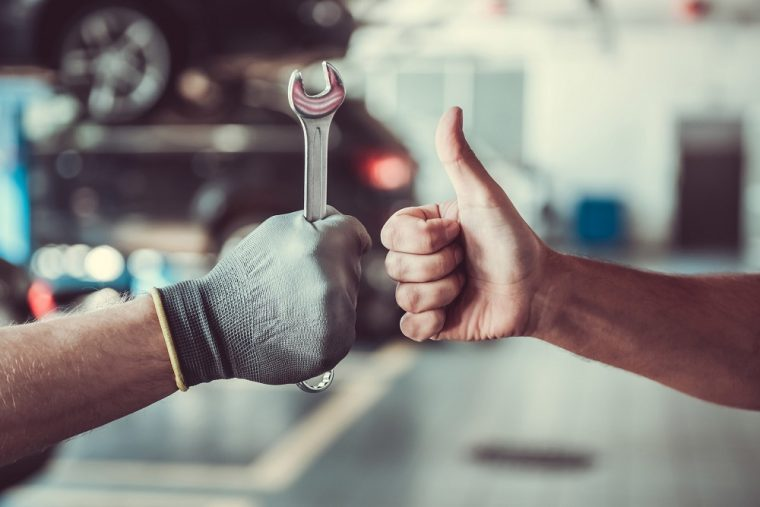 Car Mechanic Wrench Thumbs Up