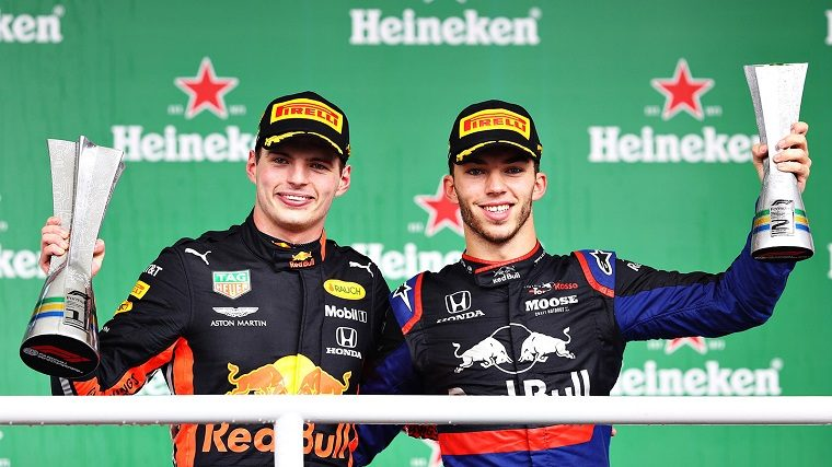 Verstappen and Gasly celebrate 2019 Brazilian GP