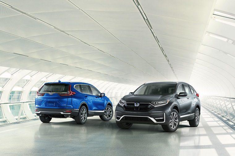 2020 Honda CR-V (blue) and CR-V Hybrid