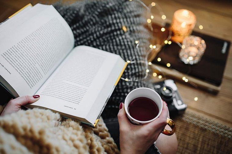 Reading book tea