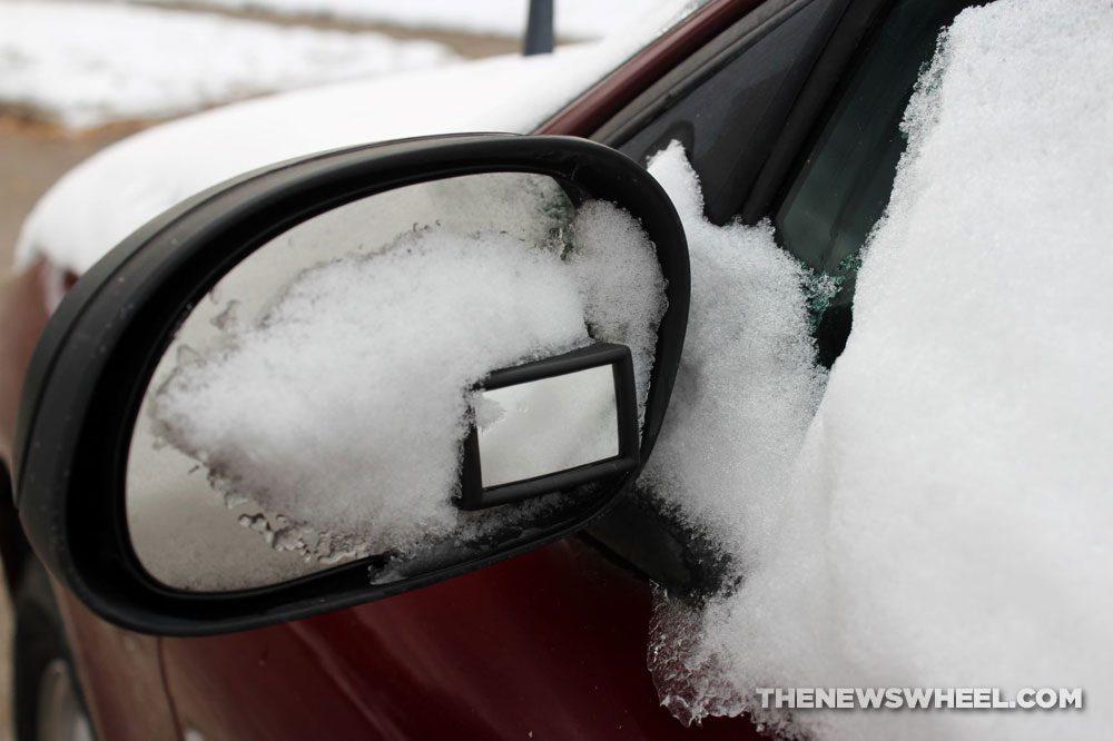 Snow side-view mirror winter weather visibility car autonomous vehicles drive snow