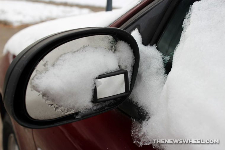 Snow side-view mirror winter weather visibility car driving tips